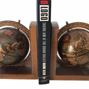 2 Vintage Rotating Wooden Globe Book Ends Bookends